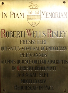 No 10 clock towerRisleyRW chapel plaque
