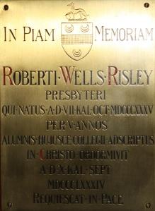 No 10 clock towerRisleyRW chapel plaque