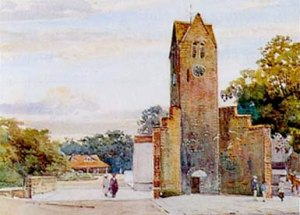 Shop 1890s. Watercolour of Clock Tower by an unknown artist. The new Shop can be seen behind Clock Tower. This painting also shows the Fives courts about Clock Tower extremely well. (See Object no 10 for a discussion about these)