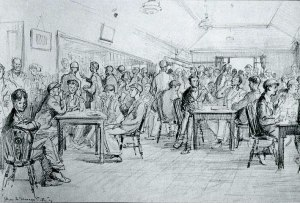 Shop 1947. The tea room in Shop. A drawing by Bryan de Grineau in the Illustrated London News, 1947