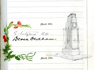 Autograph with a drawing of the Cenotaph by Sir Edwin Lutyens in a birthday book now owned by Radley College